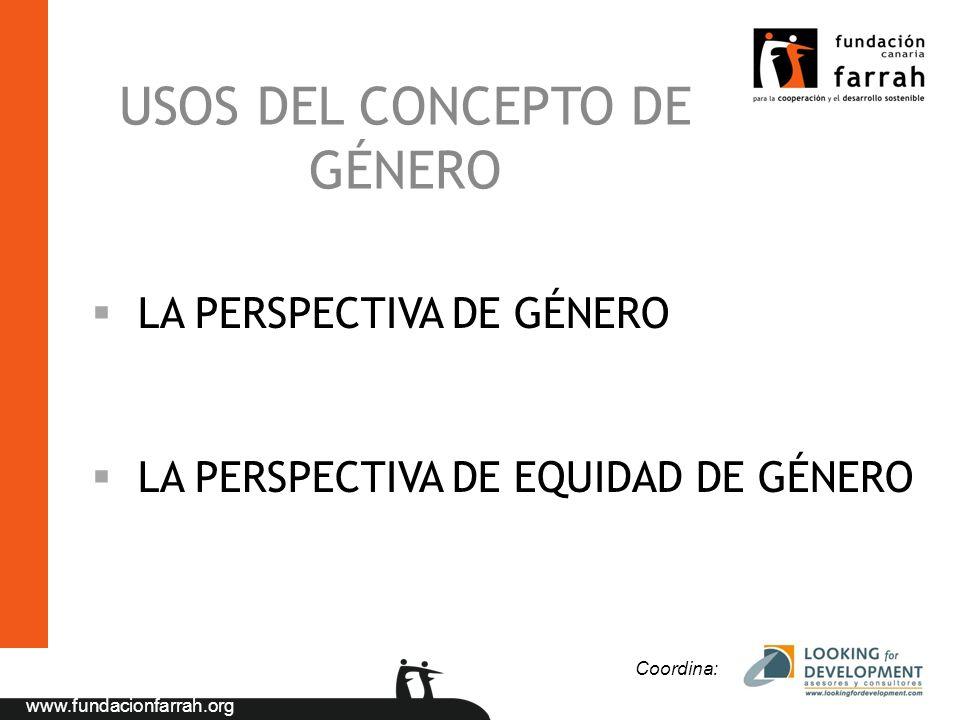 www.fundacionfarrah.org USOS DEL CONCEPTO DE GÉNERO LA PERSPECTIVA DE GÉNERO LA PERSPECTIVA DE EQUIDAD DE GÉNERO Coordina: