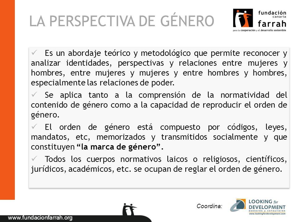 www.fundacionfarrah.org LA PERSPECTIVA DE GÉNERO Es un abordaje teórico y metodológico que permite reconocer y analizar identidades, perspectivas y re