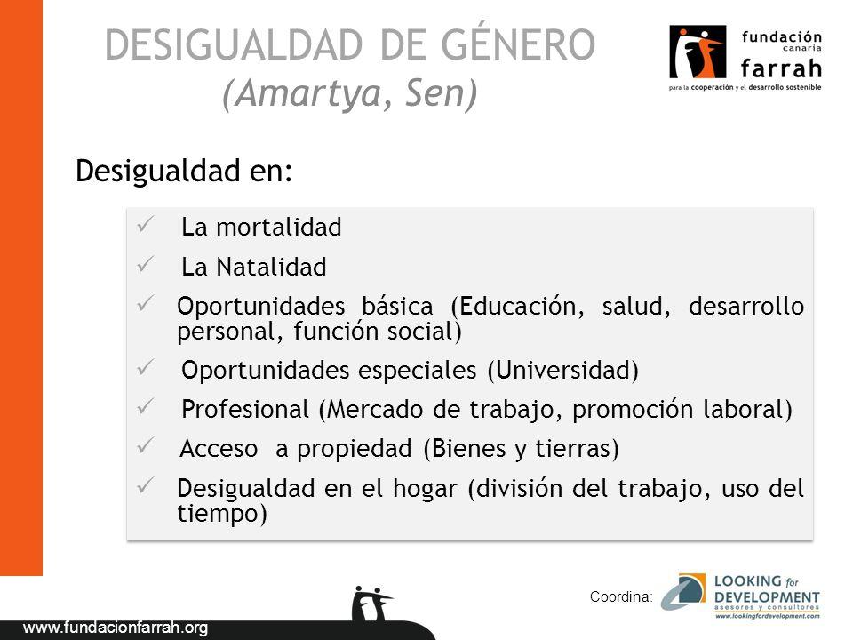 www.fundacionfarrah.org DESIGUALDAD DE GÉNERO (Amartya, Sen) Coordina: La mortalidad La Natalidad Oportunidades básica (Educación, salud, desarrollo p