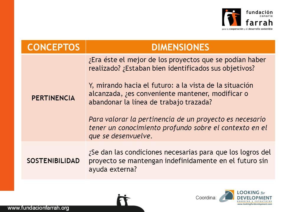 www.fundacionfarrah.org Coordina: CONCEPTOSDIMENSIONES PERTINENCIA ¿Era éste el mejor de los proyectos que se podían haber realizado? ¿Estaban bien id