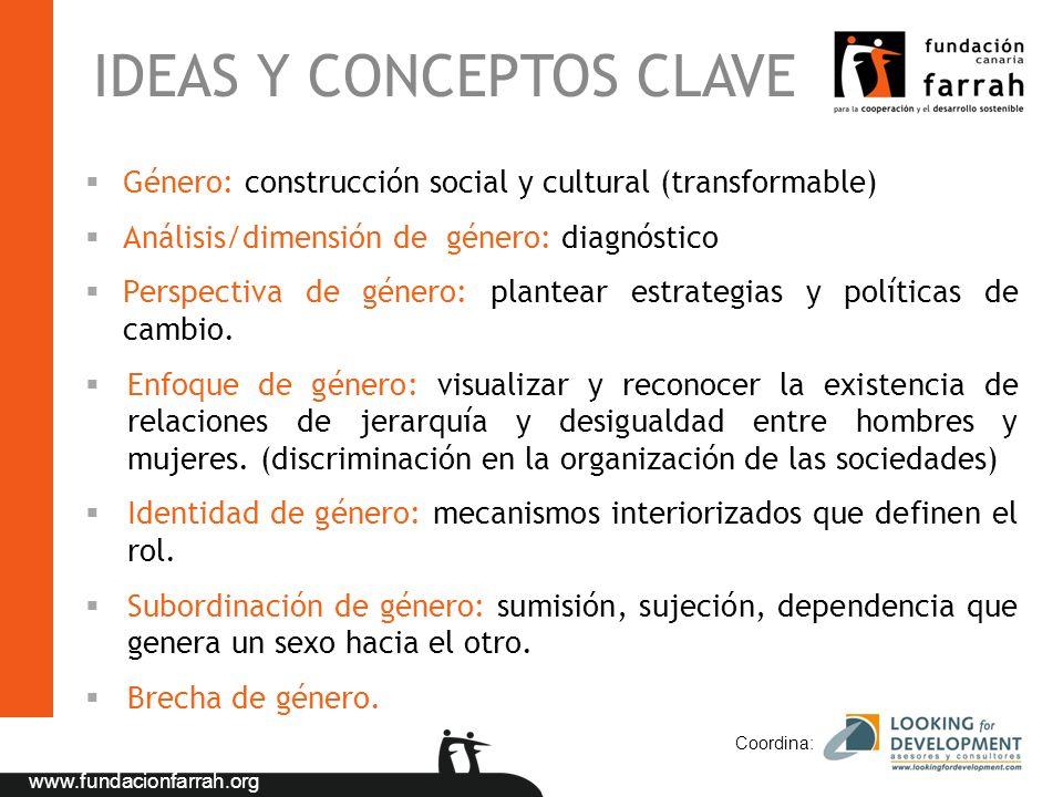 www.fundacionfarrah.org Coordina: IDEAS Y CONCEPTOS CLAVE Género: construcción social y cultural (transformable) Análisis/dimensión de género: diagnós
