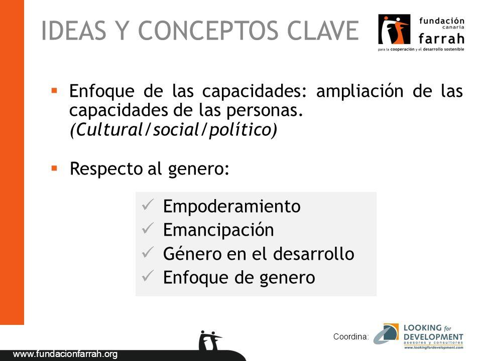 www.fundacionfarrah.org IDEAS Y CONCEPTOS CLAVE Coordina: Enfoque de las capacidades: ampliación de las capacidades de las personas. (Cultural/social/