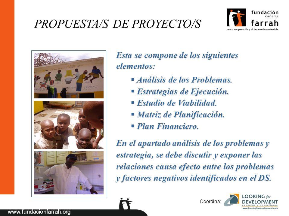 www.fundacionfarrah.org Coordina: PROPUESTA/S DE PROYECTO/S Esta se compone de los siguientes elementos: Análisis de los Problemas.