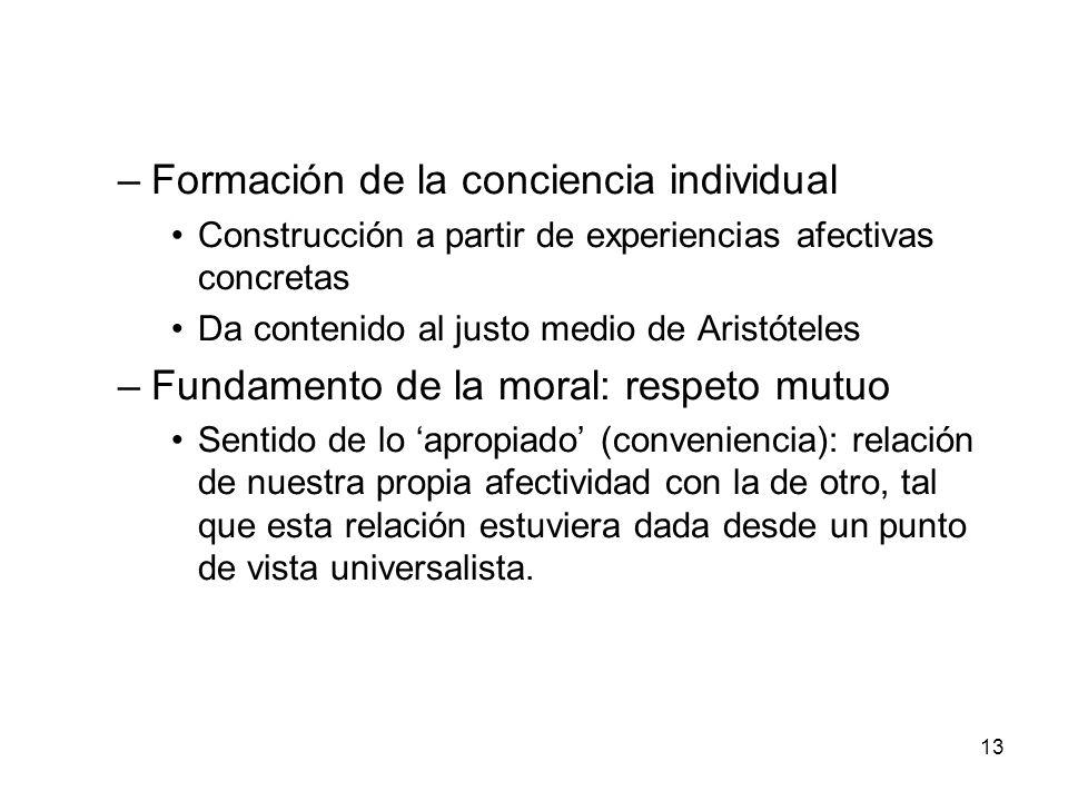 13 –Formación de la conciencia individual Construcción a partir de experiencias afectivas concretas Da contenido al justo medio de Aristóteles –Fundam