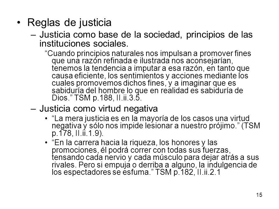 15 Reglas de justicia –Justicia como base de la sociedad, principios de las instituciones sociales. Cuando principios naturales nos impulsan a promove
