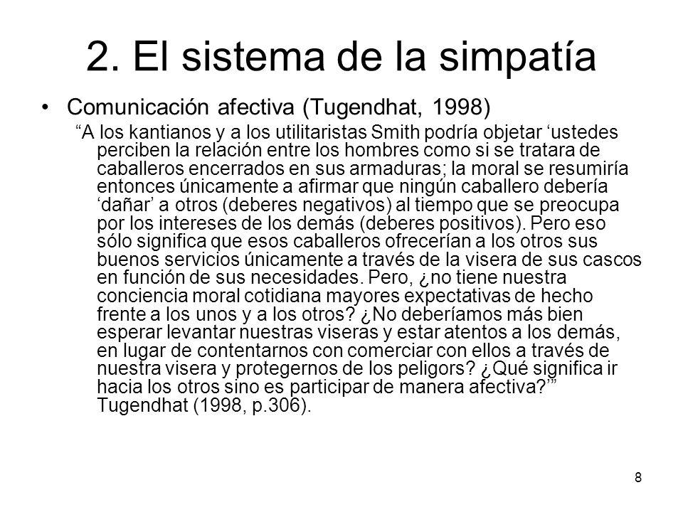 8 2. El sistema de la simpatía Comunicación afectiva (Tugendhat, 1998) A los kantianos y a los utilitaristas Smith podría objetar ustedes perciben la