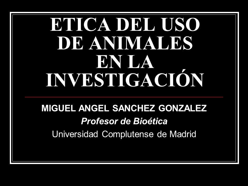 ETICA DEL USO DE ANIMALES EN LA INVESTIGACIÓN MIGUEL ANGEL SANCHEZ GONZALEZ Profesor de Bioética Universidad Complutense de Madrid
