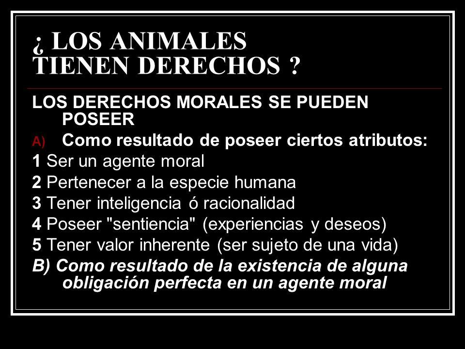 ¿ LOS ANIMALES TIENEN DERECHOS ? LOS DERECHOS MORALES SE PUEDEN POSEER A) Como resultado de poseer ciertos atributos: 1 Ser un agente moral 2 Pertenec
