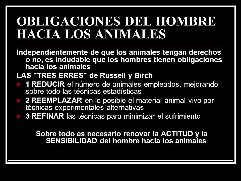 OBLIGACIONES DEL HOMBRE HACIA LOS ANIMALES Independientemente de que los animales tengan derechos o no, es indudable que los hombres tienen obligacion