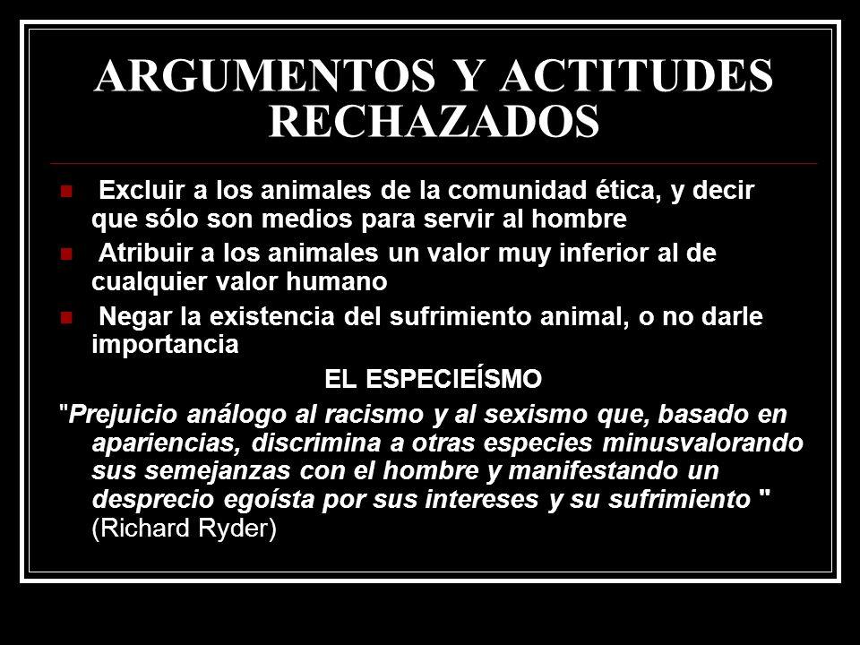 ARGUMENTOS Y ACTITUDES RECHAZADOS Excluir a los animales de la comunidad ética, y decir que sólo son medios para servir al hombre Atribuir a los anima