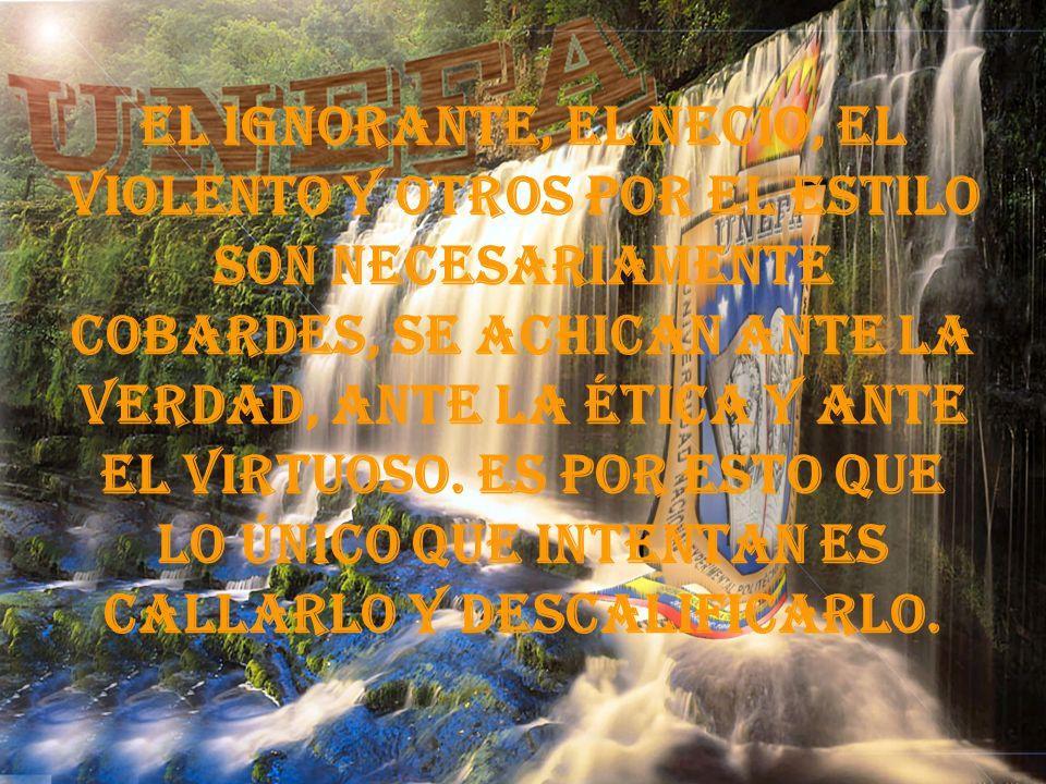El ignorante, el necio, el violento y otros por el estilo son necesariamente cobardes, se achican ante la verdad, ante la ética y ante el virtuoso.