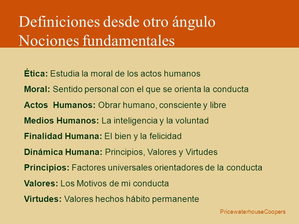 Ética: Estudia la moral de los actos humanos Moral: Sentido personal con el que se orienta la conducta Actos Humanos: Obrar humano, consciente y libre