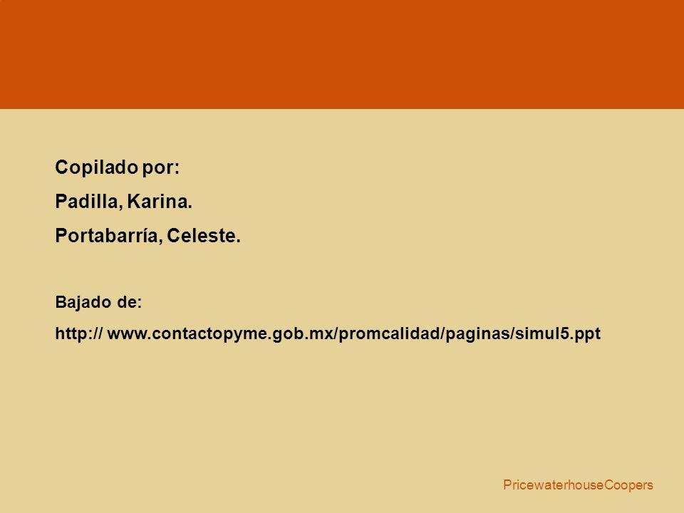 Copilado por: Padilla, Karina. Portabarría, Celeste. Bajado de: http:// www.contactopyme.gob.mx/promcalidad/paginas/simul5.ppt PricewaterhouseCoopers
