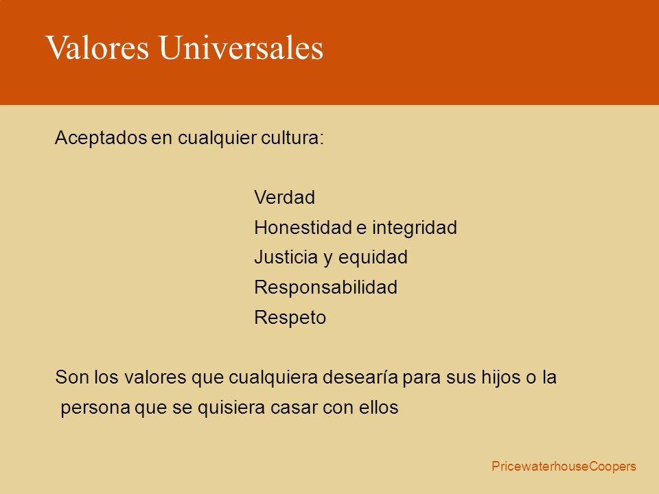 Valores Universales Aceptados en cualquier cultura: Verdad Honestidad e integridad Justicia y equidad Responsabilidad Respeto Son los valores que cual