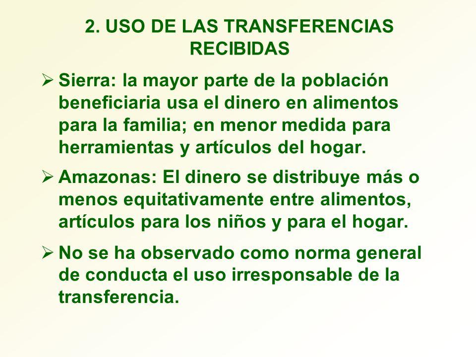 2. USO DE LAS TRANSFERENCIAS RECIBIDAS Sierra: la mayor parte de la población beneficiaria usa el dinero en alimentos para la familia; en menor medida