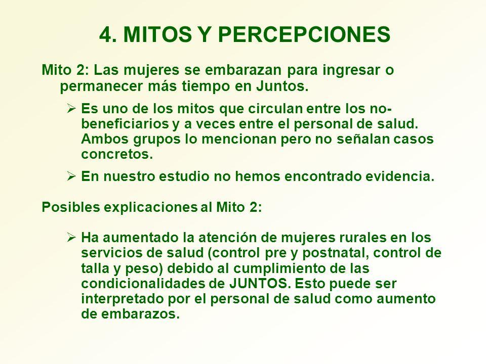 4. MITOS Y PERCEPCIONES Mito 2: Las mujeres se embarazan para ingresar o permanecer más tiempo en Juntos. Es uno de los mitos que circulan entre los n