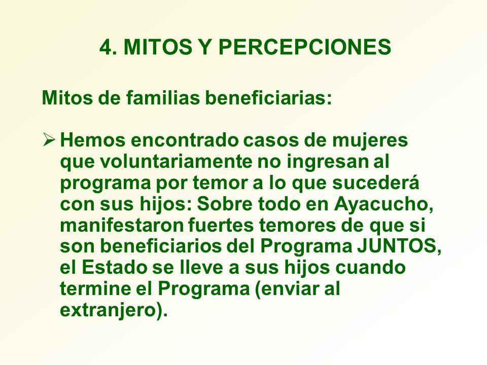 4. MITOS Y PERCEPCIONES Mitos de familias beneficiarias: Hemos encontrado casos de mujeres que voluntariamente no ingresan al programa por temor a lo