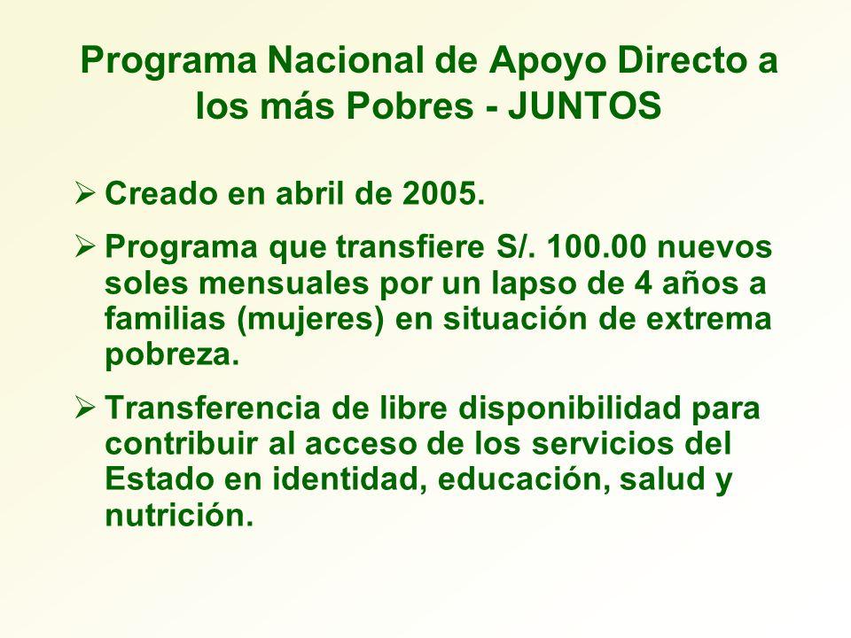 Programa Nacional de Apoyo Directo a los más Pobres - JUNTOS Creado en abril de 2005. Programa que transfiere S/. 100.00 nuevos soles mensuales por un