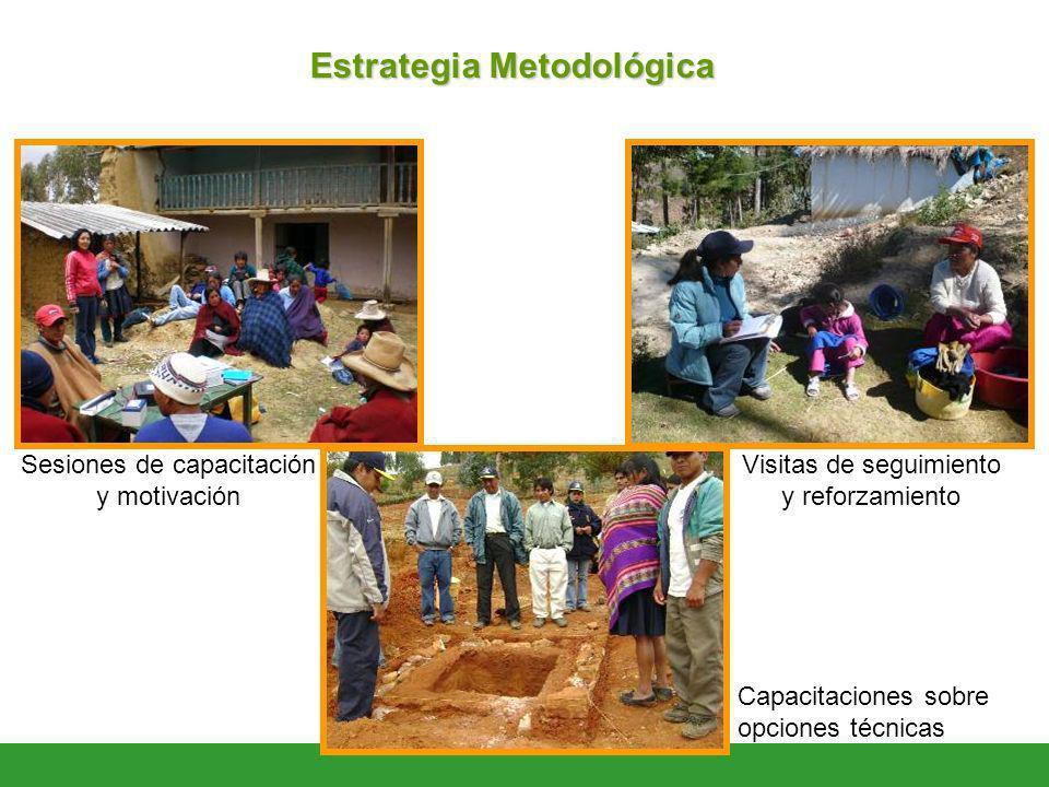 Estrategia Metodológica Sesiones de capacitación y motivación Visitas de seguimiento y reforzamiento Capacitaciones sobre opciones técnicas