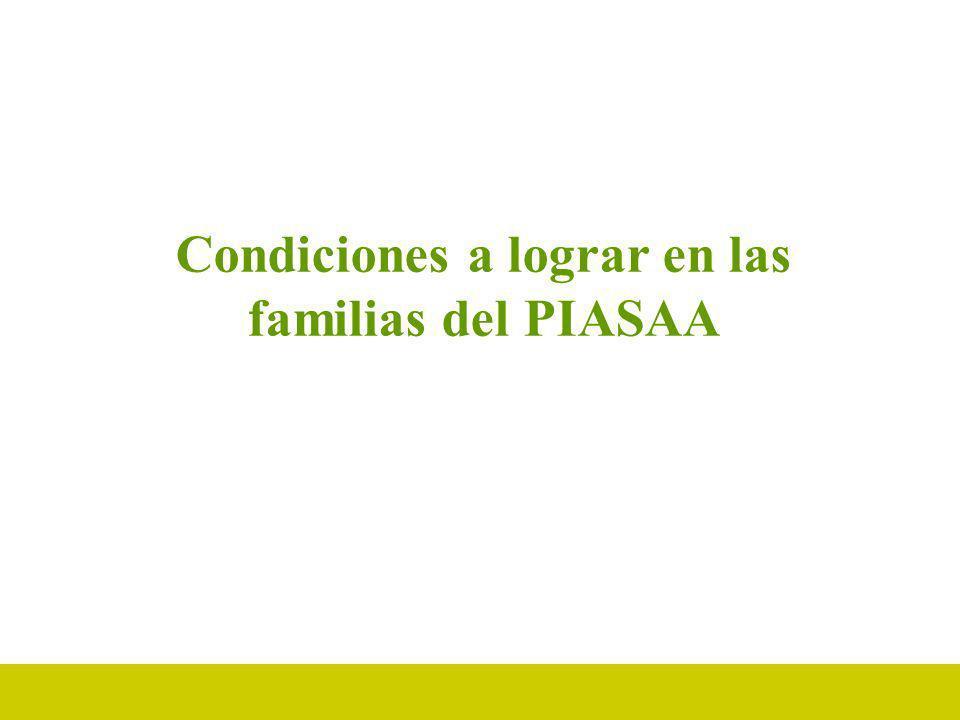 Condiciones a lograr en las familias del PIASAA