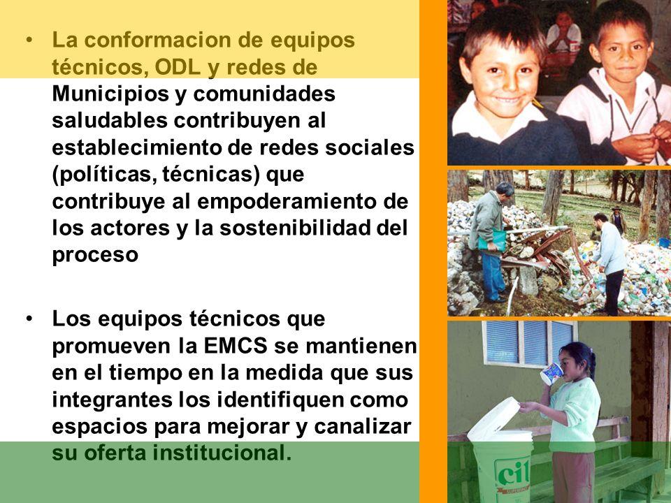 La conformacion de equipos técnicos, ODL y redes de Municipios y comunidades saludables contribuyen al establecimiento de redes sociales (políticas, t