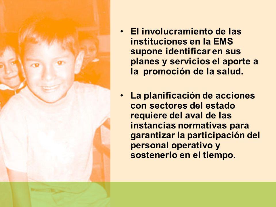 El involucramiento de las instituciones en la EMS supone identificar en sus planes y servicios el aporte a la promoción de la salud. La planificación