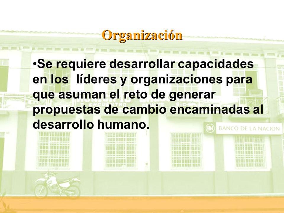 Organización Se requiere desarrollar capacidades en los líderes y organizaciones para que asuman el reto de generar propuestas de cambio encaminadas a