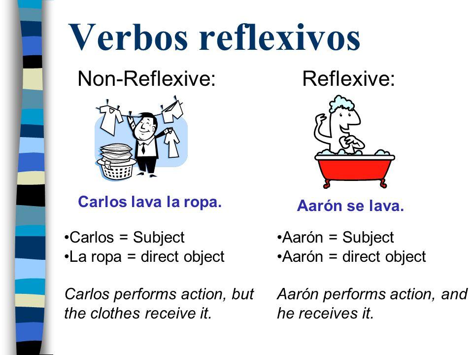 Verbos reflexivos Non-Reflexive:Reflexive: Carlos lava la ropa.