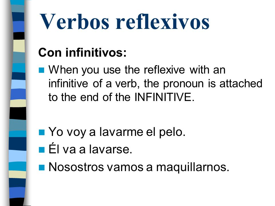 Verbos reflexivos Con infinitivos: When you use the reflexive with an infinitive of a verb, the pronoun is attached to the end of the INFINITIVE.