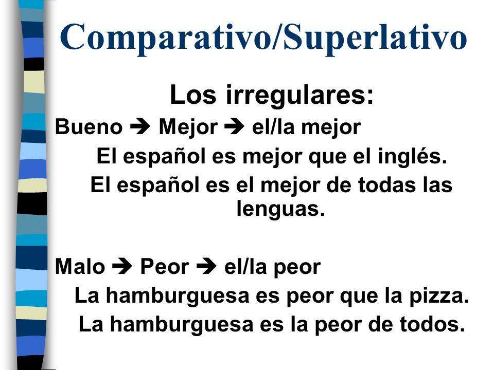 Comparativo/Superlativo Los irregulares: Bueno Mejor el/la mejor El español es mejor que el inglés. El español es el mejor de todas las lenguas. Malo