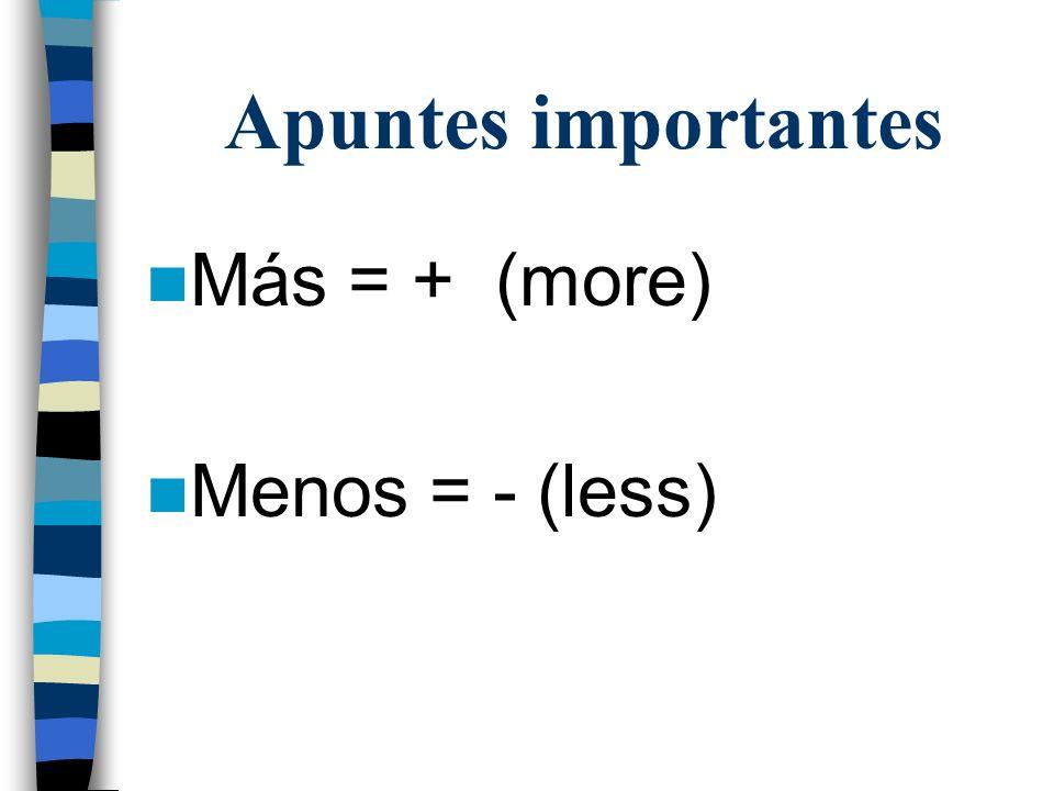 Apuntes importantes Más = + (more) Menos = - (less)