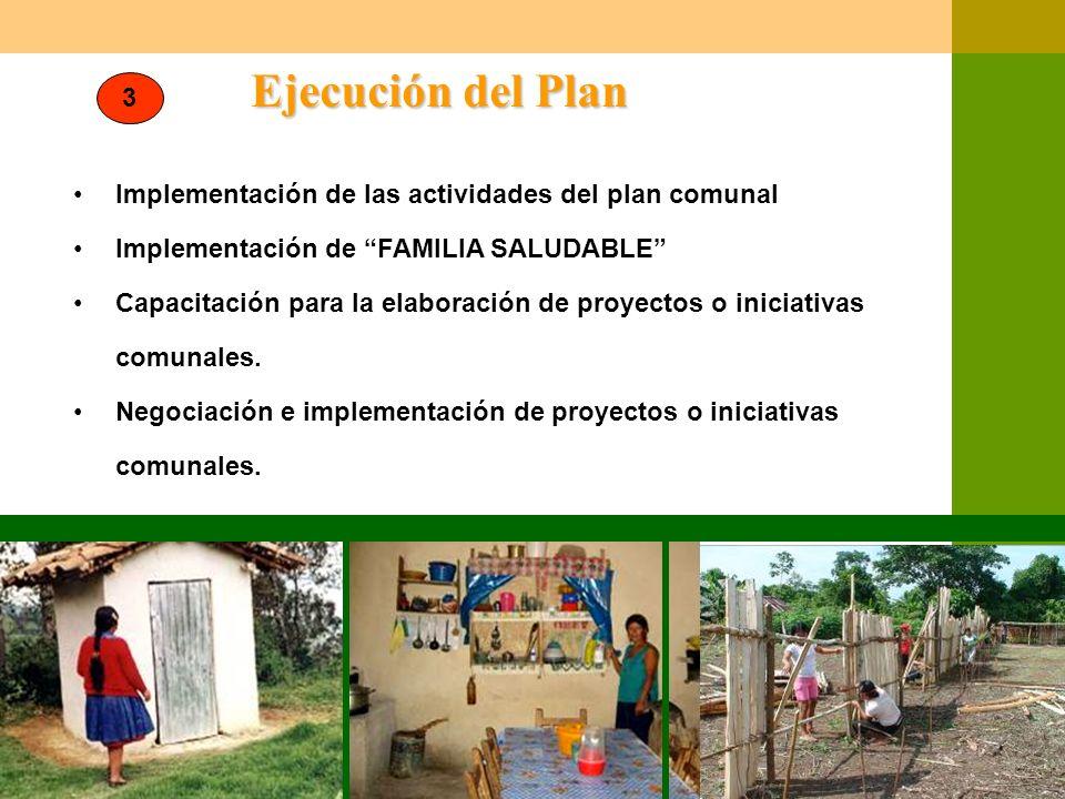 Ejecución del Plan Implementación de las actividades del plan comunal Implementación de FAMILIA SALUDABLE Capacitación para la elaboración de proyecto
