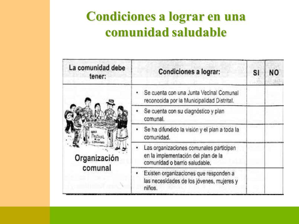 Condiciones a lograr en una comunidad saludable