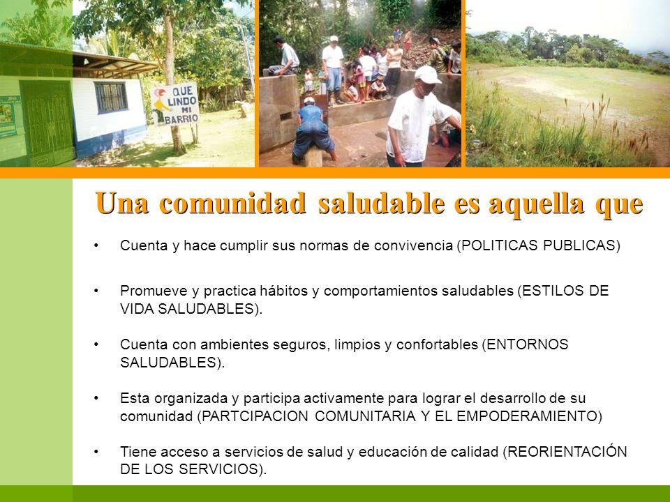 Una comunidad saludable es aquella que Cuenta y hace cumplir sus normas de convivencia (POLITICAS PUBLICAS) Promueve y practica hábitos y comportamien