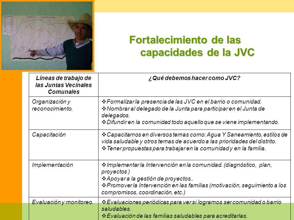 Fortalecimiento de las capacidades de la JVC Líneas de trabajo de las Juntas Vecinales Comunales ¿Qué debemos hacer como JVC? Organización y reconocim