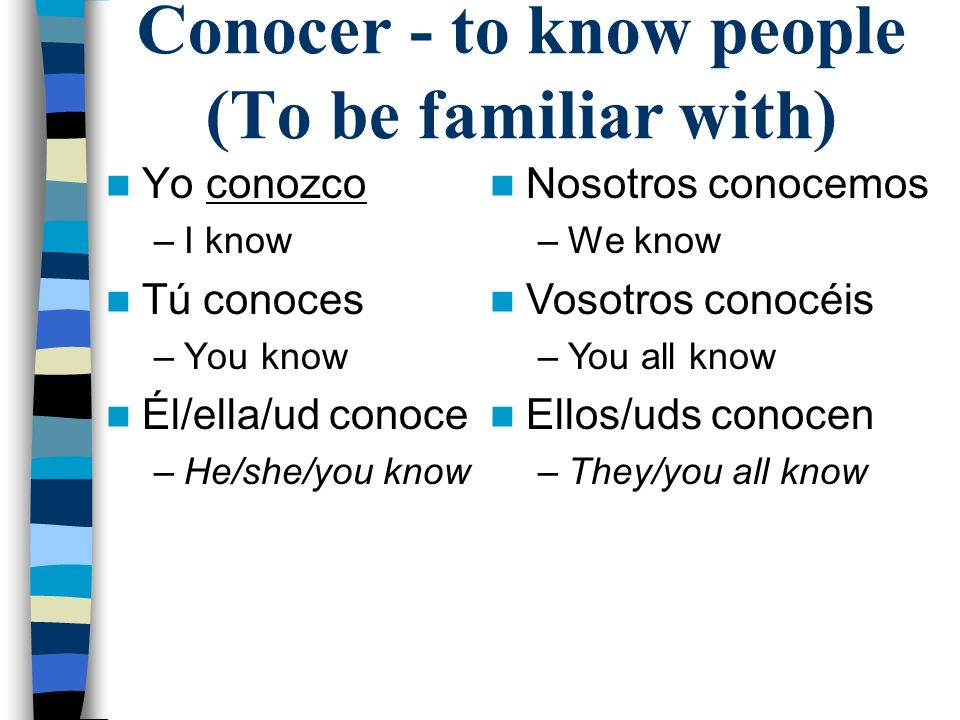 Conocer - to know people (To be familiar with) Yo conozco –I know Tú conoces –You know Él/ella/ud conoce –He/she/you know Nosotros conocemos –We know Vosotros conocéis –You all know Ellos/uds conocen –They/you all know