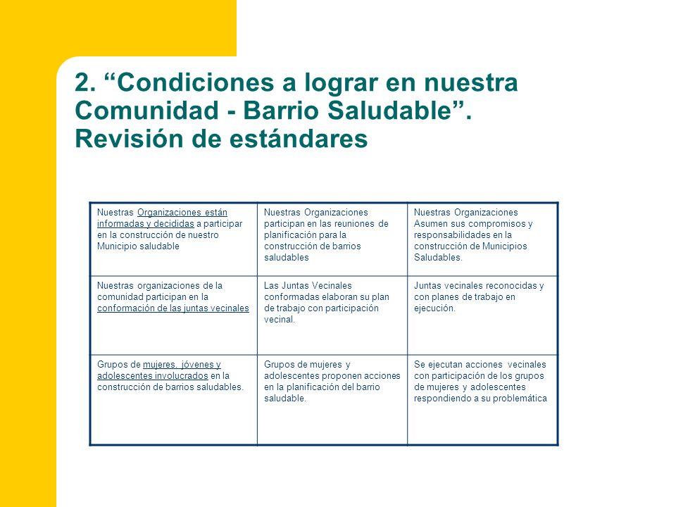 2. Condiciones a lograr en nuestra Comunidad - Barrio Saludable. Revisión de estándares Nuestras Organizaciones están informadas y decididas a partici