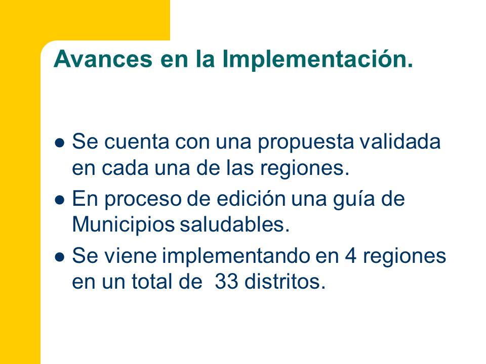 Avances en la Implementación. Se cuenta con una propuesta validada en cada una de las regiones. En proceso de edición una guía de Municipios saludable