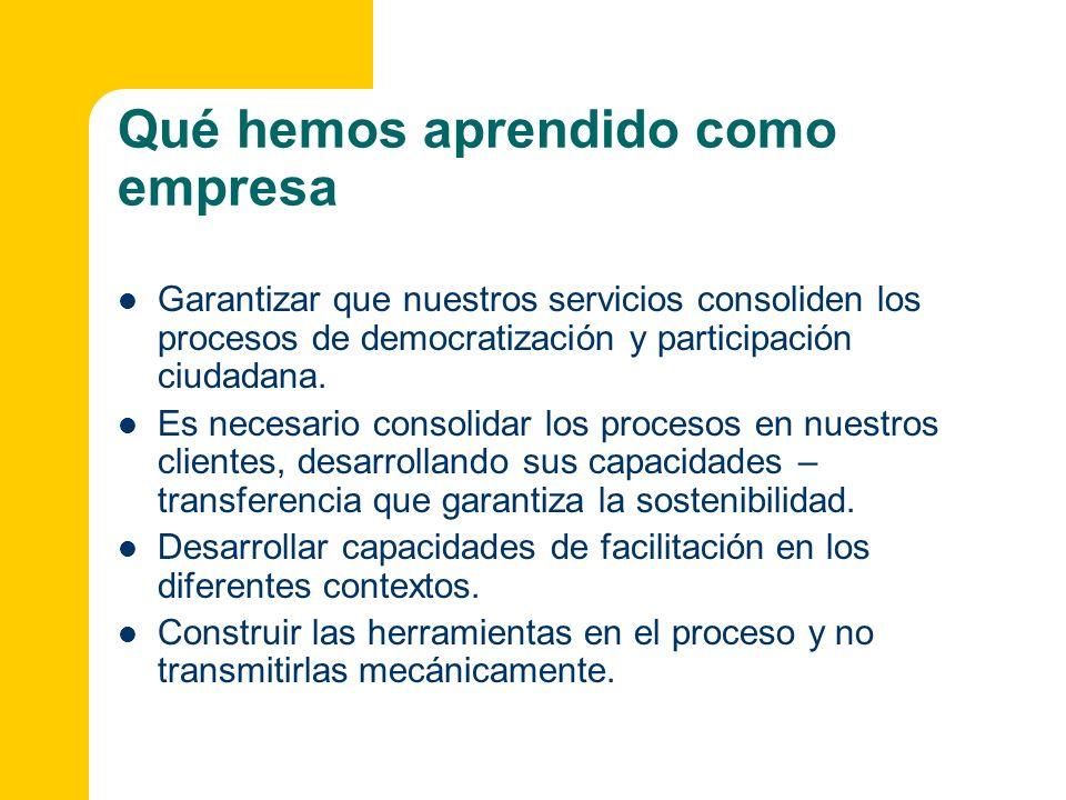 Qué hemos aprendido como empresa Garantizar que nuestros servicios consoliden los procesos de democratización y participación ciudadana. Es necesario