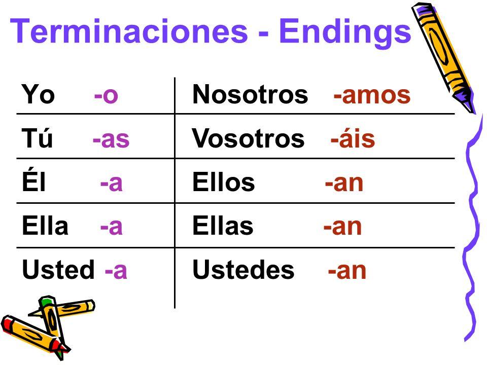 Terminaciones - Endings Yo -o Tú -as Él -a Ella -a Usted -a Nosotros -amos Vosotros -áis Ellos -an Ellas -an Ustedes -an