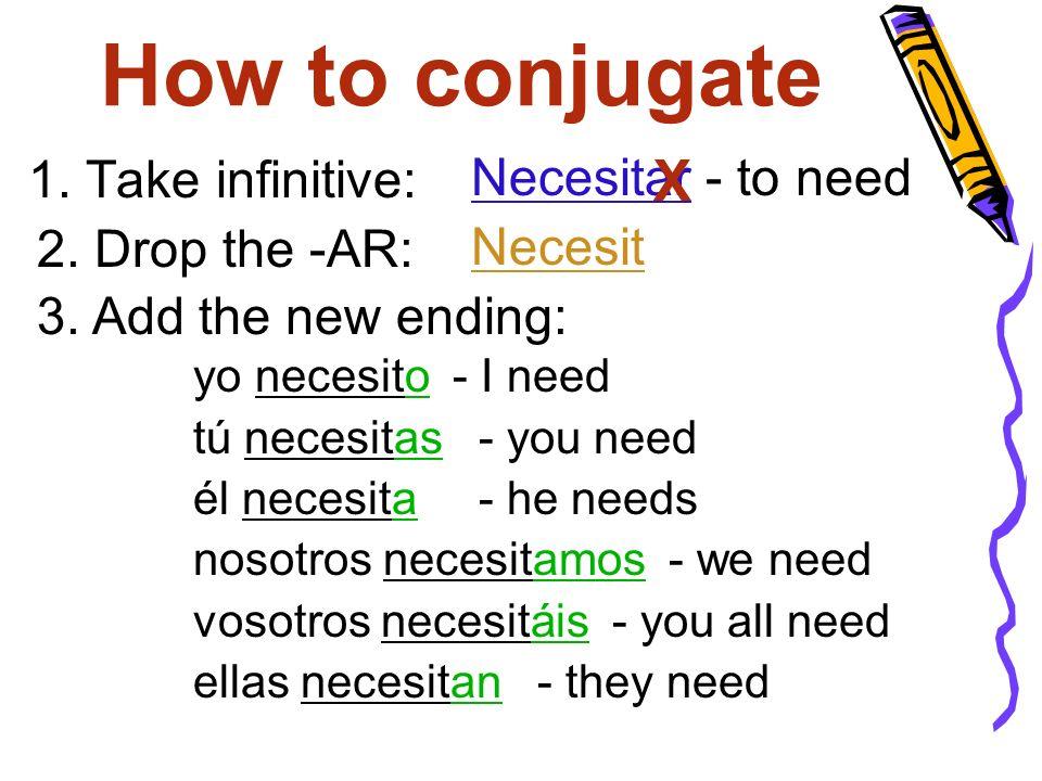 How to conjugate 1. Take infinitive: Necesit Necesitar - to need yo necesito - I need tú necesitas - you need él necesita - he needs nosotros necesita