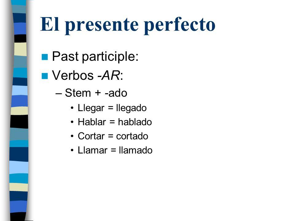 El presente perfecto Past participle: Verbos -ER/-IR: –Stem + -ido Comer = comido Tener = tenido Ir = ido Venir = venido Haber = habido * (ha habido only!) Caer = caído