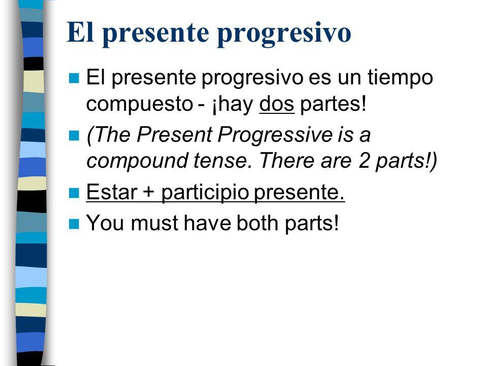 El presente progresivo Parte 1: Estar Estar en el presente: –Yo estoy –Tú estás –Él/ella/ud está –Nosotros estamos –Vosotros estáis –Ellos/ellas/uds están