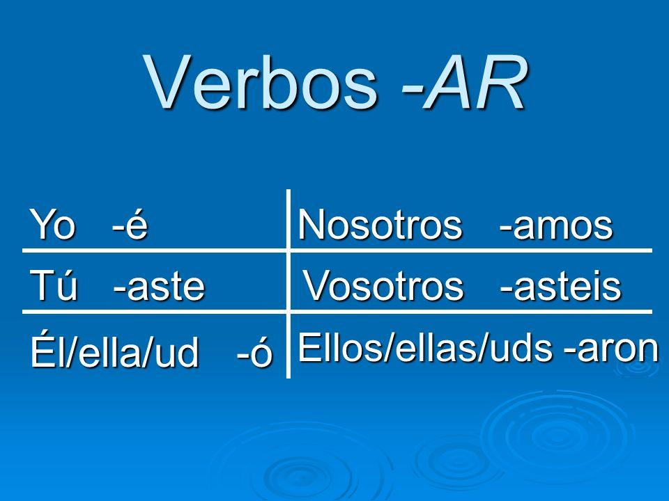 Verbos -er/-ir Yo -í Tú -iste Él/ella/ud -ió Nosotros -imos Vosotros -isteis Ellos/ellas/uds -ieron