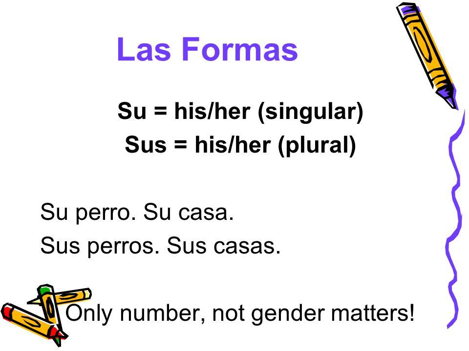 Las Formas Su = his/her (singular) Sus = his/her (plural) Su perro. Su casa. Sus perros. Sus casas. Only number, not gender matters!