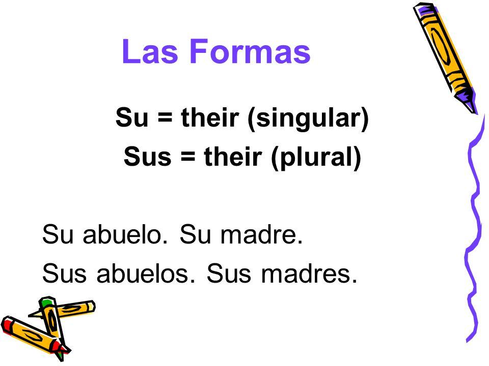Las Formas Su = their (singular) Sus = their (plural) Su abuelo. Su madre. Sus abuelos. Sus madres.