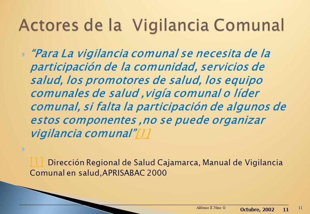 Octubre, 2002 10 La vigilancia comunal en salud es una actividad permanente que consiste en observar la presencia de algunas enfermedades y factores d