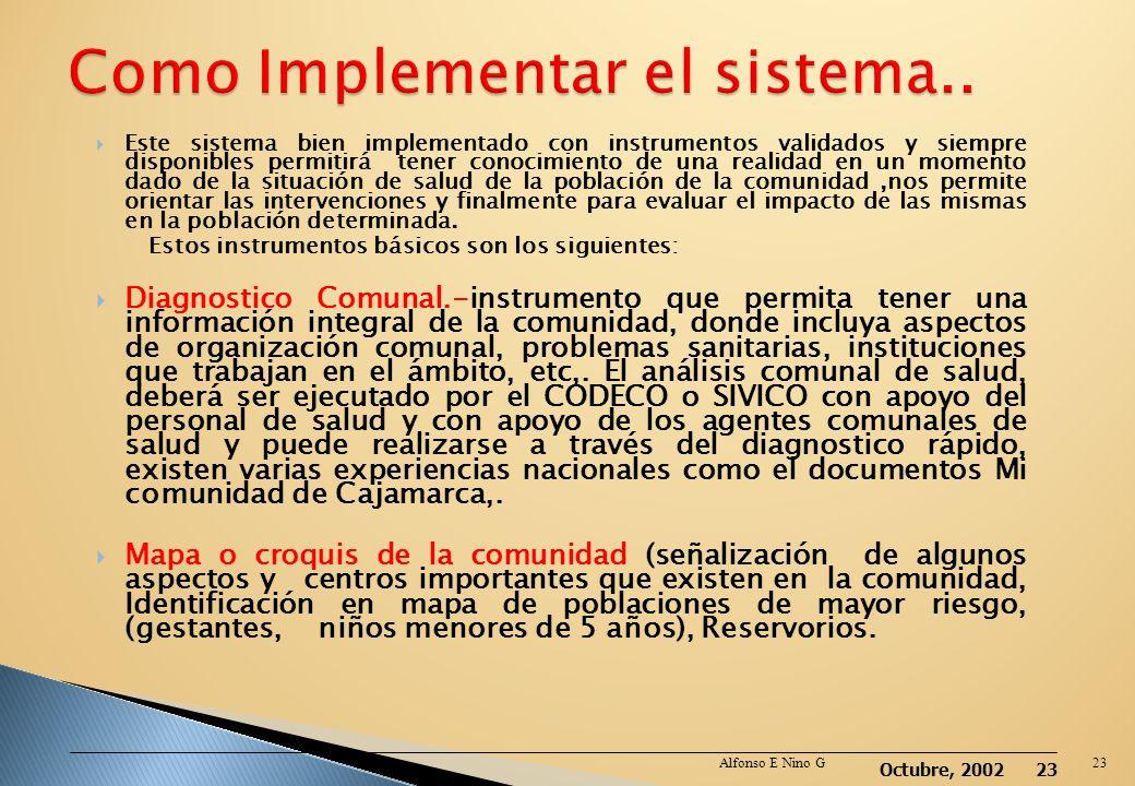 Octubre, 2002 22 Cuando se debe notificar: Los actores involucrados en la identificación y vigilancia de daños, riesgos determinantes de la salud debe