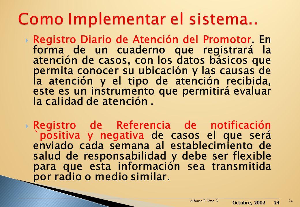Octubre, 2002 23 Este sistema bien implementado con instrumentos validados y siempre disponibles permitirá tener conocimiento de una realidad en un mo