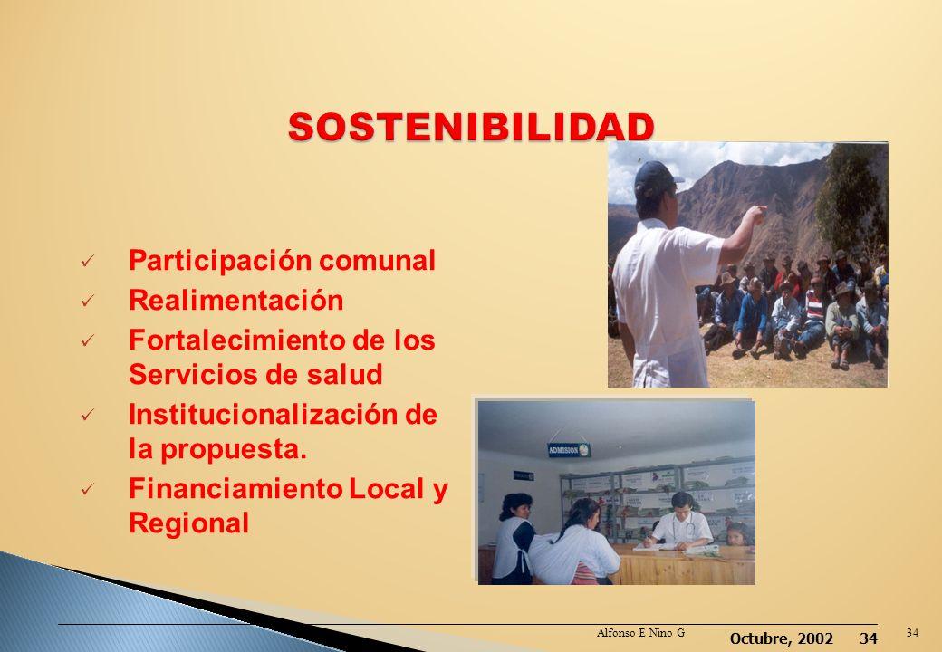 Octubre, 2002 33 Alfonso E Nino G33 Existe la necesidad de trabajar de manera articulada propuestas de cambio de comportamiento con acciones concretas